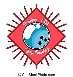 Color vintage bowling emblem