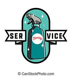 Color vintage cleaning service emblem
