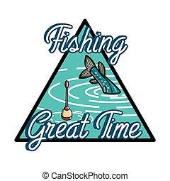 Color vintage fishing emblem
