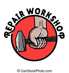 Color vintage repair workshop emblem