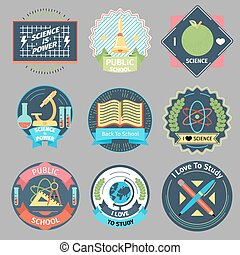 Color vintage school emblems vector set