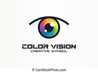 Color vision, camera eye creative symbol concept. Digital technology, security, protect abstract business logo idea. Rainbow spectrum icon