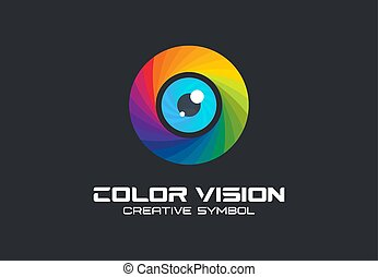 Color vision, camera eye creative symbol concept. Digital technology, security, protect abstract business logo idea. Rainbow spectrum icon.