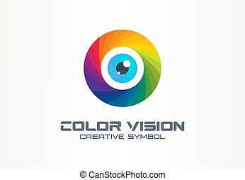 Color vision, circle eye creative symbol concept. Colorful iris lens, security, rainbow abstract business logo idea. focus, spectrum icon