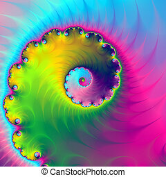 Color Wash Spiral - A digital abstract fractal image with a...