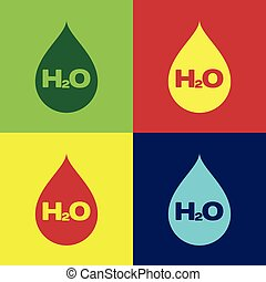 Color Water drop with H2O icon isolated on color backgrounds. Water formula. Flat design. Vector Illustration