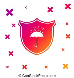 Color Waterproof icon isolated on white background. Shield ...