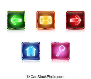 Color web buttons set