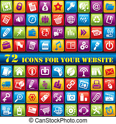 color web icons - vector set of 72 computer icons for your...