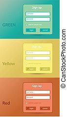 color website forms for sign up