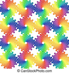 Color Wheel - color circles seamless vector pattern on white...