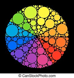 Color wheel or color circle on black background - Color...