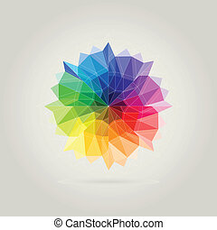 color wheel polygon in beige background