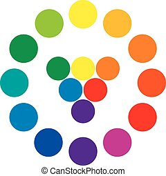 Color wheel with circles, showing the complementary colors that is used in art and for paintings. Primary and secondary colors in the center and resulting mixed colors.