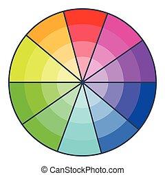 Color wheel with shades icon, cartoon style - Color wheel...