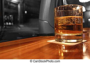 color, whisky, selectivo, bar, servido
