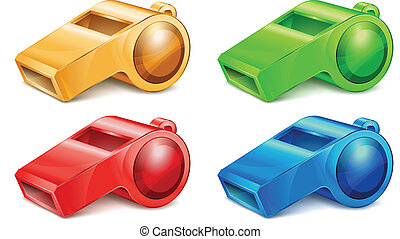 color whistle - Color whistle isolated on white background...