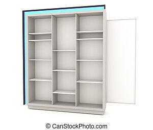 Color white shelves design with blue light on white...