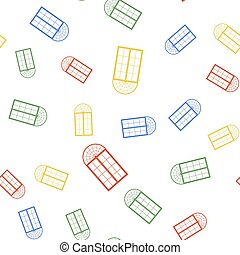 Color Window icon isolated seamless pattern on white background. Vector