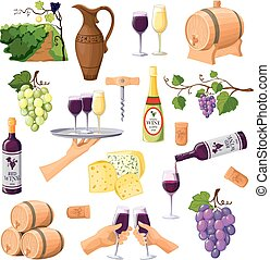 Color Wine Icons Set On White Background