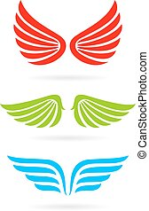 Color wings vector icon