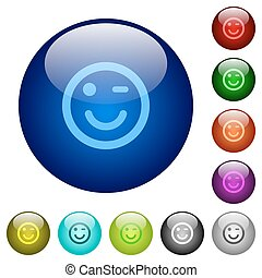 Color winking emoticon glass buttons