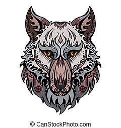 Color wolf head front view with ethnic decorations. Predator portrait with curls and tribal ornaments. Dog muzzle. Vector colorful sketch