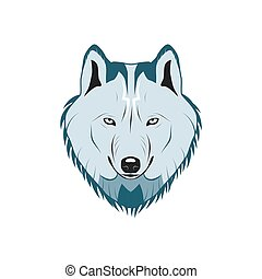 Color wolf head logo