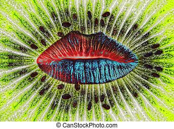 Color woman lips on ripe green kiwi slice background.