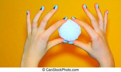 Color woman nails, fashion manicure