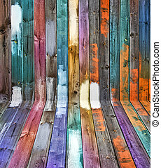 Color wood panels perspective - Weathered old wooden floor ...
