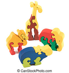 Color wooden animal toys