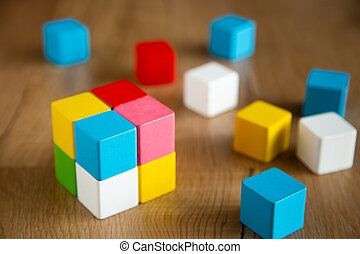 color wooden block form of cube shape
