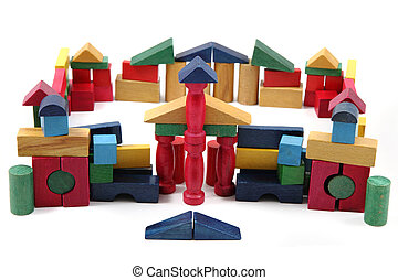 color wooden bricks castle