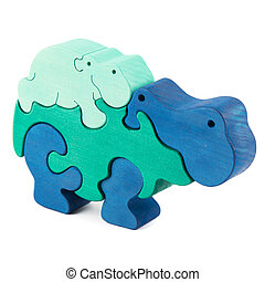 color wooden hippo toy