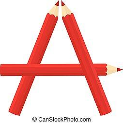 Color wooden pencils concept by Rearrange the letters A.