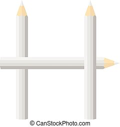 Color wooden pencils concept by Rearrange the letters H.
