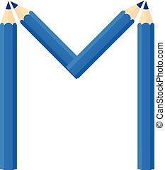 Color wooden pencils concept by Rearrange the letters M.