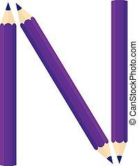Color wooden pencils concept by Rearrange the letters N.