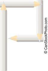Color wooden pencils concept by Rearrange the letters P.