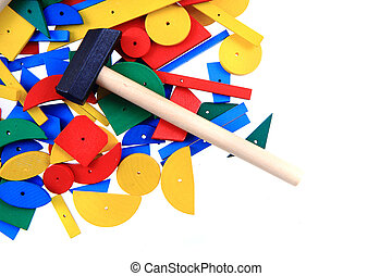 color wooden toy shapes