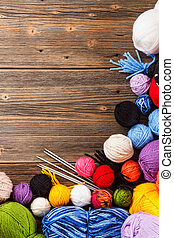 Frame of color woolen clews for knitting