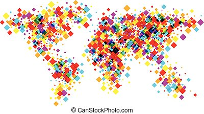 Color world abstract map.