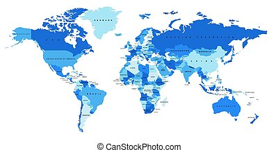 Color world map. Political map. - Blue world map with the...