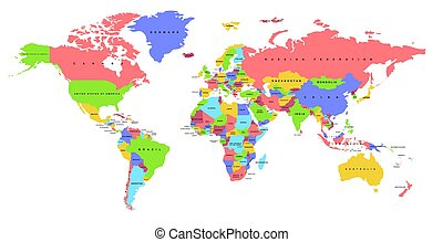 Color world map. Political map. - Color world map with the...
