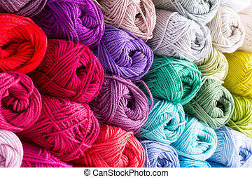 color yarn - colorful yarn in white background