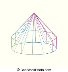 Color yurt icon on the white background