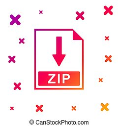 Color ZIP file document icon. Download ZIP button icon isolated on white background. Gradient random dynamic shapes. Vector Illustration