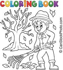 coloração, árvore, livro, jardineiro