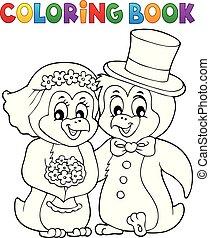 coloração, 1, tema, livro, casório, pingüim